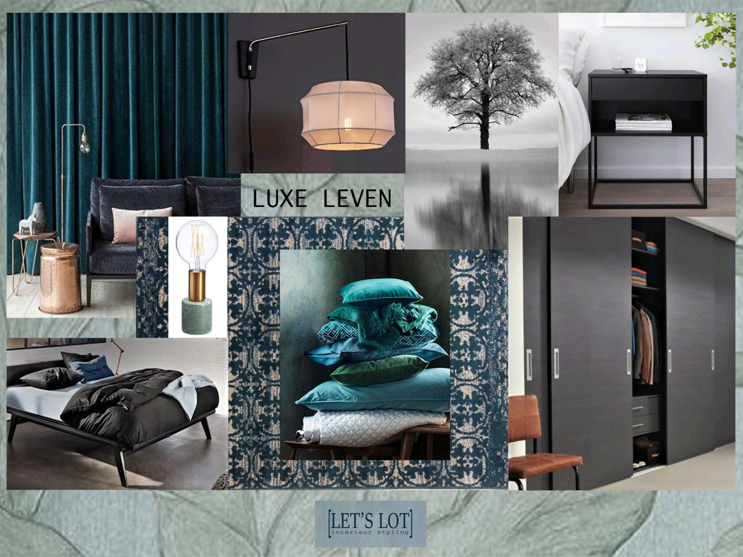 Dit moodboard van de slaapkamer straalt rust, luxe en eenheid uit.